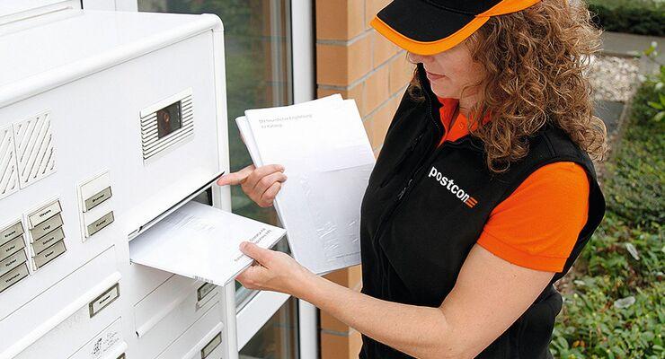 Briefträger, Briefkasten, Postcon