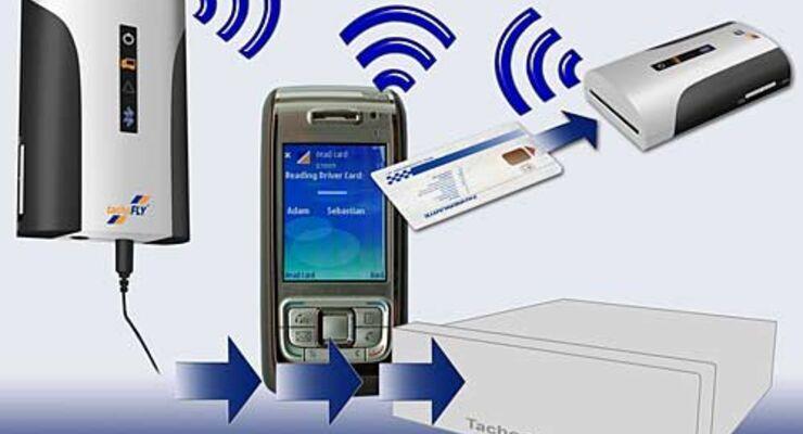 Daten des Digitalen Tachografen lassen sich mit dem Handy an den Unternehmens-Server übermitteln.