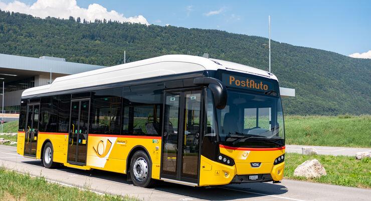 Der VDL Citea 120 SLF electric für PostAuto besitzt ein 180 kWh-Batteriepaket, das tagsüber auf der Strecke geladen werden kann.