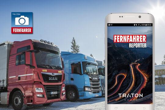 Die FERNFAHRER Reporter App wird präsentiert von TRATON