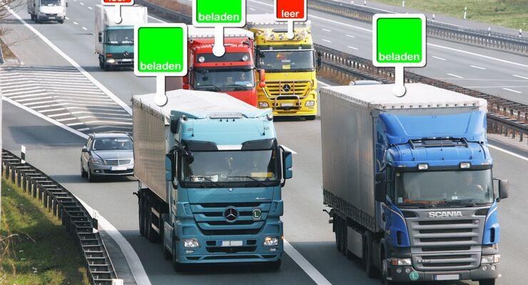 Frachtenbörse, Leerfahrten, Autobahn, Lkw