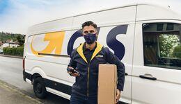 GLS-Zusteller mit Atemschutzmaske