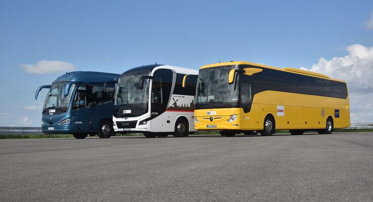 IBC 2018 München, Vergleichstest Reisebusse 13 Meter, MAN Lion's Coach C, Mercedes-Benz Tourismo,  Irizar i6S;