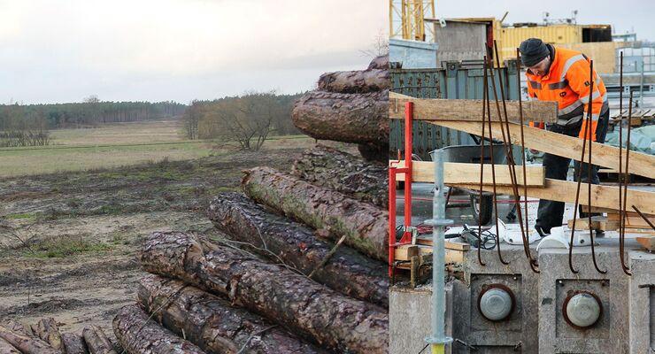 Landschaft, Baum, Bauarbeiter, Autobahn