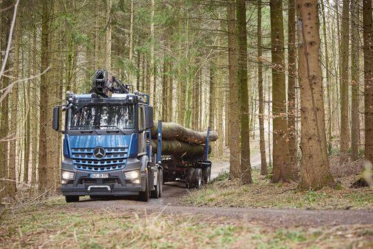 Mercedes-Benz Arocs 2658 L 6×4 im Langholztransport bei Holz-Krause  Mercedes-Benz Arocs 2658 L 6×4 as log transporter at Holz-Krause