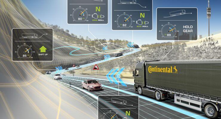 Schematische Darstellung von eHorizon-Funktionen: Das Getriebe wählt entsprechend der vor dem Lkw befindlichen Strecke den passenden Gang und benutzt in Gefällen Eco-Roll oder lässt in Steigungen den Motor ziehen.