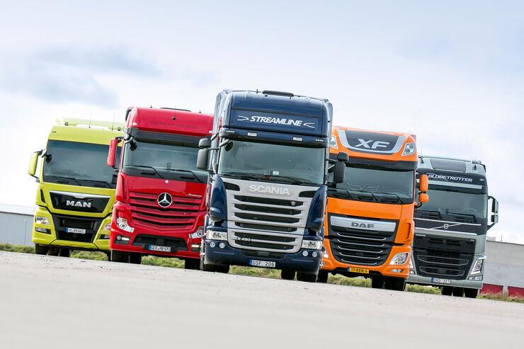 Vergleichstest Euro-6-Zugmaschinen, Scania, DAF, Volvo, Mercedes, MAN