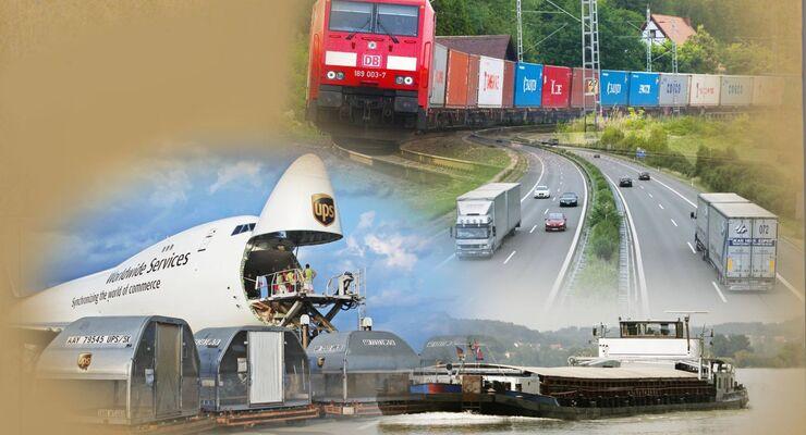 Verkehrsträger, Bahn, Straße, Schiene, Luft, Wasser