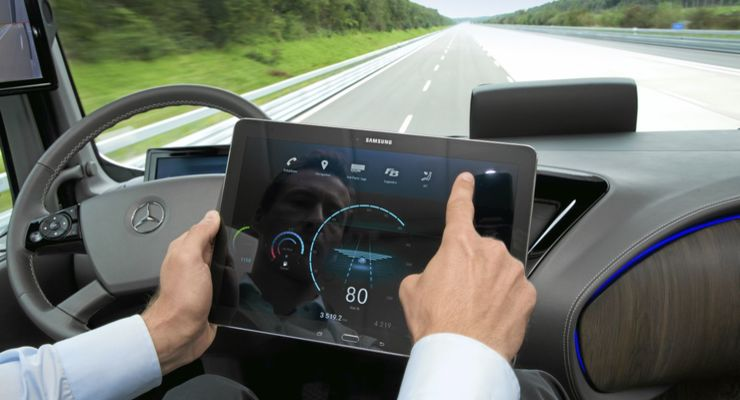 autonomes Fahren, Tablet, Lkw, Fahrerhaus