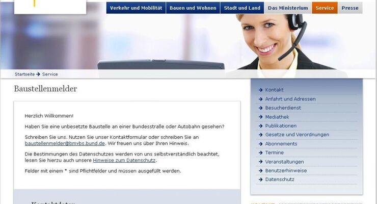 bundesverkehrsministerium, baustellenmelder, screenshot